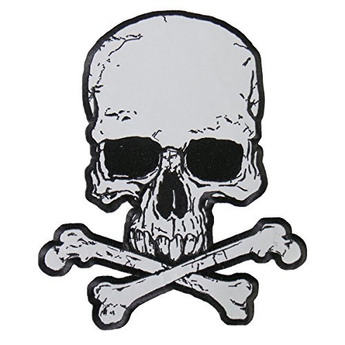 Hot Leathers, JUMBO SKULLS AND CROSSBONES, Iron-On / Saw-On, Heat Sealed Backing Rayon REFLECTIVE PATCH - 10