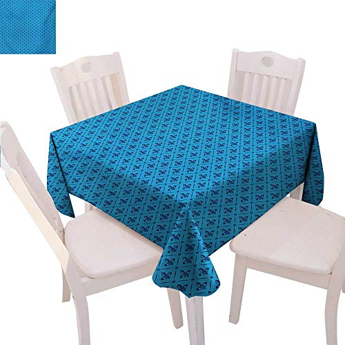 (BlountDecor Fleur De Lis Dinner Picnic Table Cloth Diagonal Lines Rectangle Frames Traditional Abstract Lily Shape Monochrome Waterproof Table Cover for Kitchen 36