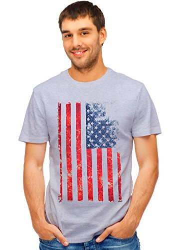 - Retreez Vintage Old Glory US American Flag Graphic Printed Unisex Men/Boys / Women T-Shirt Tee - Light Grey - Medium