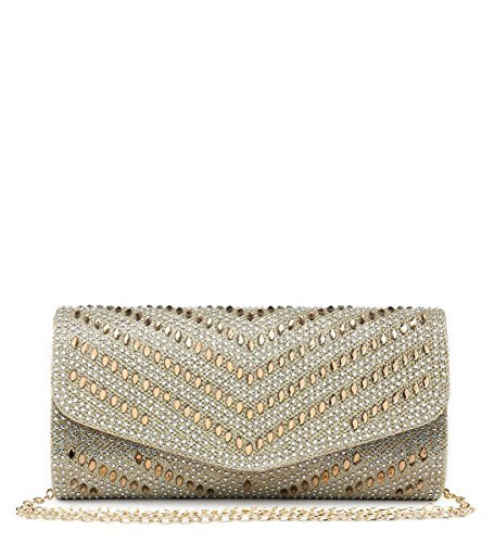 Glitter Gold M24 Clutch Prom Womens Occasion Hand Bags Party Dressy Shimmer Evening Diamante Ladies Foldover Flap UHqEg