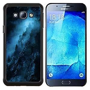 TECHCASE---Cubierta de la caja de protección para la piel dura ** Samsung Galaxy A8 ( A8000 ) ** --Noche Azul Negro misterioso oscuro
