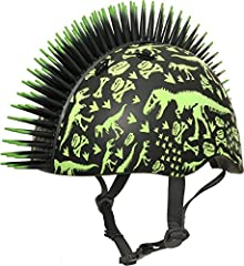 Make a ferocious statement with the Raskullz T-Rex Bonez Mohawk Toddler Bike Helmet in green and black. This dinosaur-inspired bike helmet has bright green dinosaur skeleton images printed over the entire helmet. It also features an eye-catch...