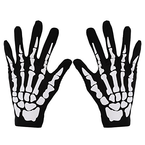 Pangda 3 Pairs New Halloween Black White Skeleton Gloves Skull Fancy Dress Accessory Ghost Bones for Halloween Dance Party Costume Gloves (Large)