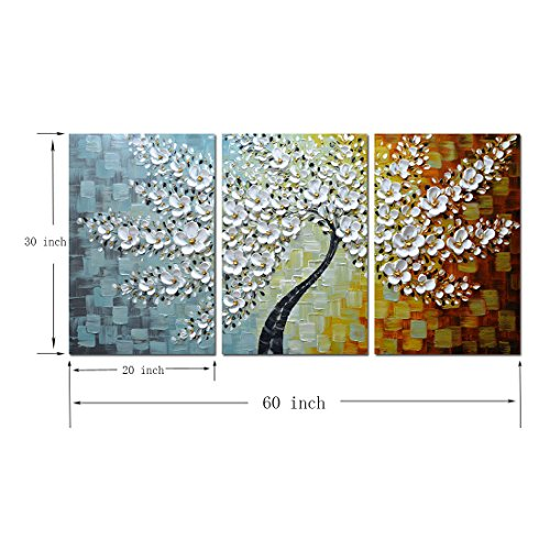 V-inspire Paintings, 20x30Inchx3 Paintings Oil Hand Painting 3D Hand-Painted On Canvas Abstract Artwork Art Wood Inside Framed Hanging Wall Decoration Abstract Painting by V-inspire (Image #1)