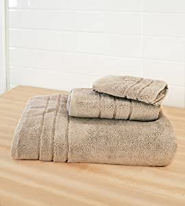Cariloha Crazy Soft Bamboo 3 Piece Towel Set - Odor Resistant - Moisture Wicking - Bath Towel, Hand Towel and Washcloth (Beachwood)