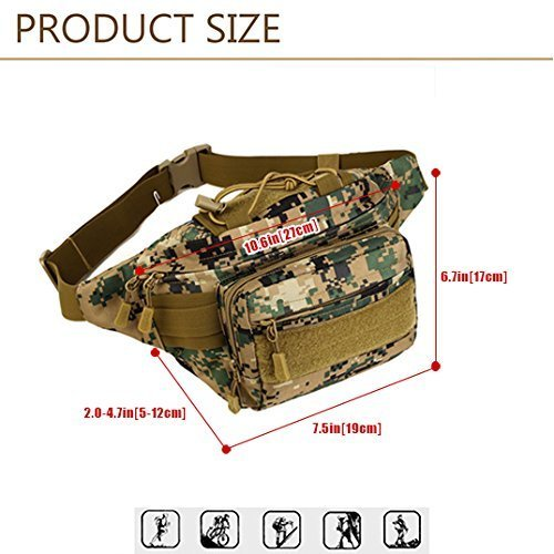 ad7c18404a SUNVP Tactical Military Fanny Pack Bumbag Waterproof Waist Bag Hip Belt  Pouch for Hiking Camping Running Climbing Jungle Camouflage  Amazon.co.uk   Sports   ...