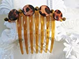 MOP Tiger Shells and Tigers Eye Large french twist Comb, Beach Theme Wedding Shell Comb, MOP Comb. Large French Comb, Comb