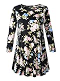 Veranee Women's Plus Size Swing Tunic Top 3/4 Sleeve Floral Flare T-Shirt XX-Large 16-4