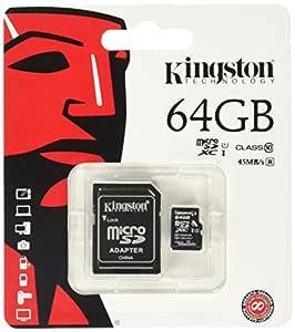 Kingston SDCX10/64GB - Tarjeta Micro SDXC de 64 GB, Clase 10 UHS-I, con Adaptador