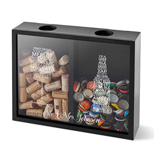 Personalized Double Sided Beer Cap Wine Cork Display Shadow Box - Glass and Bottle -