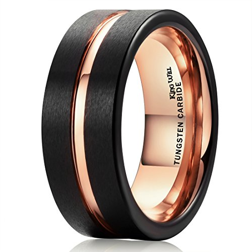 Tungsten Steel Ring (King Will DUO 8mm Black Matte Finish Tungsten Carbide Ring Rose Gold Plated Wedding Band (8.5))