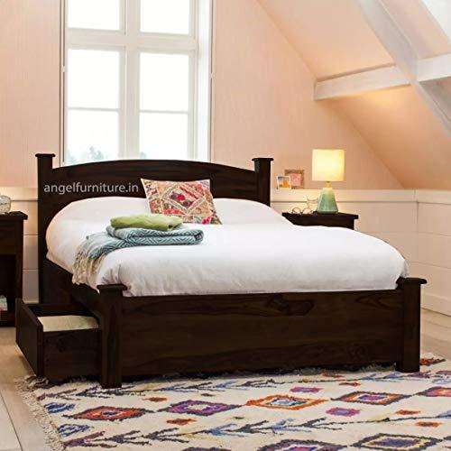 Angel Furniture Jodhpuri Solid Sheesham Wood Double Bed Storage Queen Size  Standard, Walnut Finish