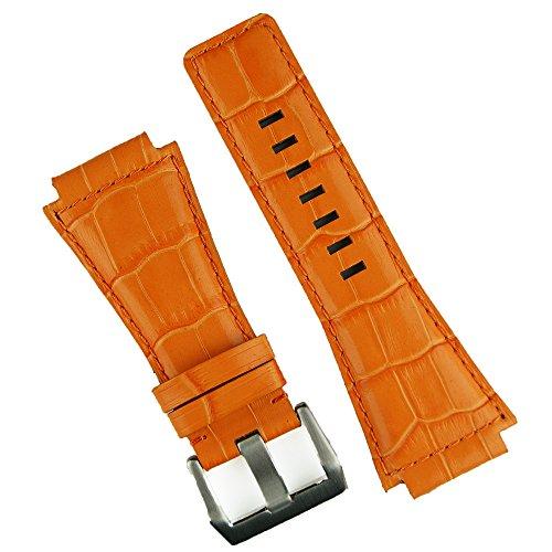 Alligator Orange Strap (B & R Bands Bell & Ross BR01 BR03 Orange Gator Leather Watch Band Strap - Medium Length)