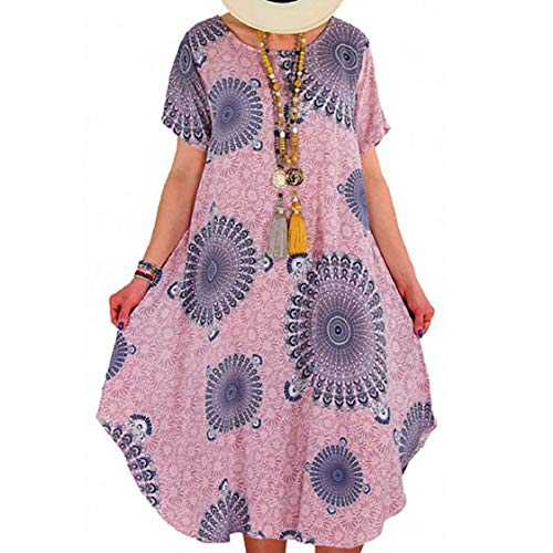 MISYAA Womens Plus Size Midi Dresses Tie-Dye Gradient Short Sleeve Knee Length Casual Dress Beach Sundress Boho Paisley S-5XL Pink (Pink Dolphin Tie Dye Hoodie For Sale)