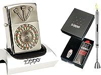 Zippo Feuerzeug Dartboard Emblem + Geschenkset & Stabfeuerzeug Chrome Brushed