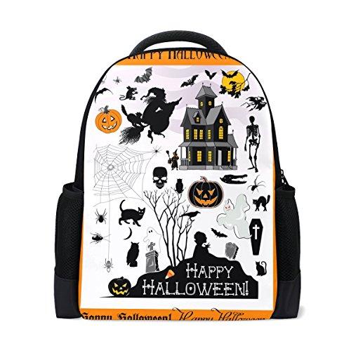 LORVIES Halloween Town School Backpack Casual Daypack Travel Laptop -