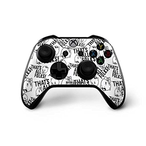 Skinit Porky Pig Black and White Xbox One X Controller Skin - Officially Licensed Warner Bros Gaming Decal - Ultra Thin, Lightweight Vinyl Decal Protection
