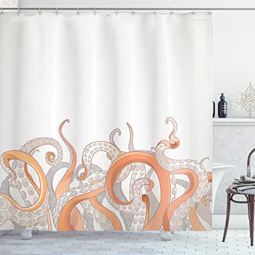 orange and grey shower curtain - 7