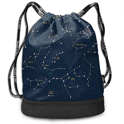 (Drawstring Backpack bags, Sky Map Andromeda Lacerta Cygnus Lyra Hercules Draco Bootes Lynx)