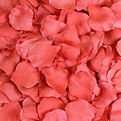 Koyal Wholesale 200-Pack Silk Rose Petals, Coral