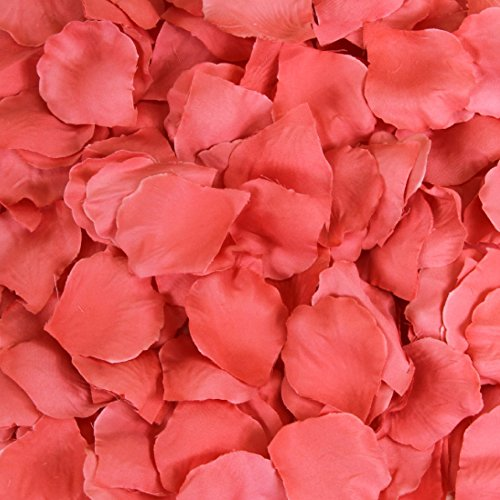 Koyal Wholesale Silk Rose Petals Confetti, Coral, Bulk 1200-Pack Wedding Flowers Table Scatter, Rose Petal Aisle Runner