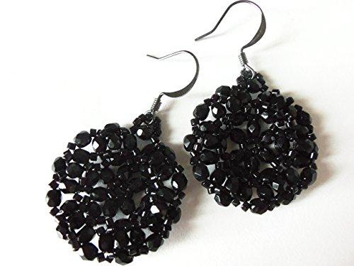 Beading Earwire - Black Beaded Earrings Black Jewelry Circle Dark Gunmetal Earwires Bead Work Bead Weaving Surgical Stainless Steel Earwire