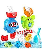 Luclay Babybadspeelgoed, badspeelgoed voor 1 2 3 4 + jaar oud jongens meisjes cadeauset, baby waterval douche speelgoed met krachtige zuignap drijvende zegel schildpad krab stekelvarkenspin, geweldig voor verjaardag, Kerstmis