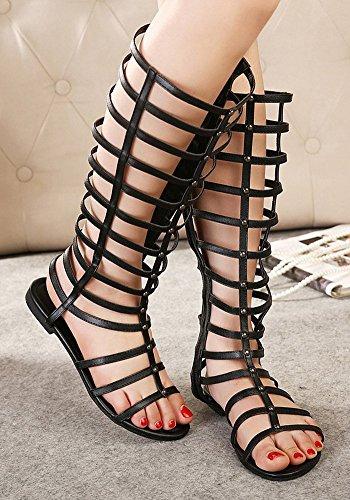 Aisun Womens Hot Stylish Open Toe Side Zipper Gladiator Flat Heels Under Knee High Sandals Summer Boots Shoes Black wOw1j