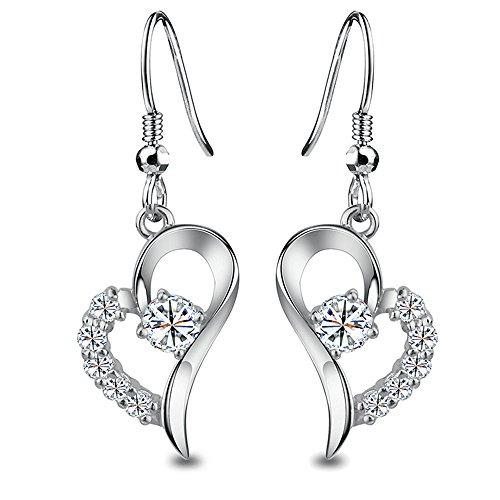 White Gold-Plated Love Heart Cubic Zirconia Hook Earrings,Hypoallergenic