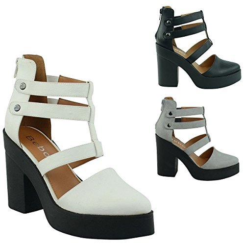 NEW WOMENS LADIES ANKLE STRAP ZIP UP HIGH BLOCK HEEL CUT OUT SANDALS SHOES SIZE White Faux Leather