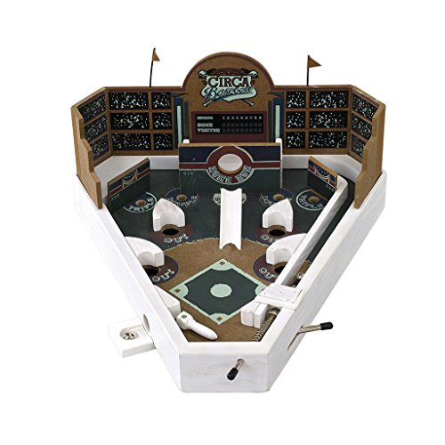 Time Concept Tabletop Baseball Game - Wooden Pinball Machine - For Adults and Kids Age 6+