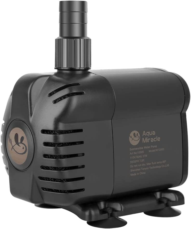 AquaMiracle 400GPH Submersible Water Pump (6ft 3-core UL power cord) with Pre-filtration for aquarium, fish tank, hydroponics, fountain, pond, water garden, waterfall, statuary, water feature,: Home Improvement