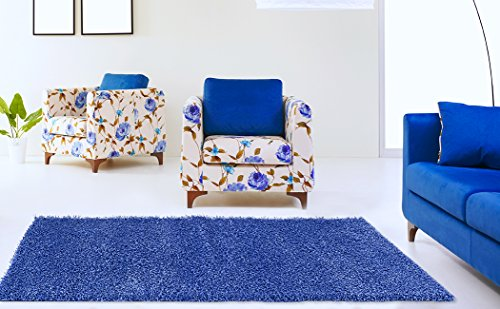 Adgo Chester Shaggy Collection Solid Design Vivid Color High Soft Pile Carpet Thick Plush Fluffy Furry Children Bedroom Living Dining Room Shag Floor Rug (5' x 7', S06 - Blue) - Childrens Bedroom Collection