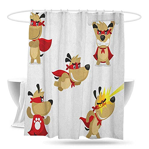 huimaoxiangbaowangdian Long Shower Curtain Dog Superhero Puppy with Paw Costume and Mystic Powers Laser Vision Supreme Talents Bathroom Curtain Washable Polyester W70×L70 Red Cream White -