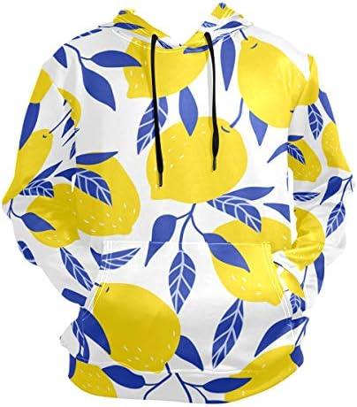 (fohoo) パーカー メンズ 大きいサイズ 長袖 レモン柄 リーフ フーディ おしゃれ フード付き プルオーバー ポケット付き 薄手