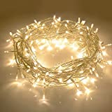 JMEXSUSS 100LED 49.2ft Indoor String Light Christmas Lights Fairy String Lights 30V 8 Modes Homes, Christmas Tree, Wedding Party, Bedroom, Indoor Wall Decoration (100LED, Warm White)