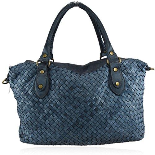 ZETA SHOES Borsa Donna Tracolla in Vera Pelle Intrecciata Vintage Cuoio MainApps blu