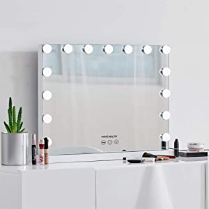 FENCHILIN Vanity Mirror with Lights, Hollywood Lighted Makeup Mirror with 15 Dimmable LED Bulbs for Dressing Room & Bedroom, Tabletop or Wall-Mounted, Slim Wooden Frame Design