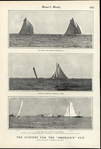 America Cup Yacht Racing Start of the Race Finishing 1901 antique historic print