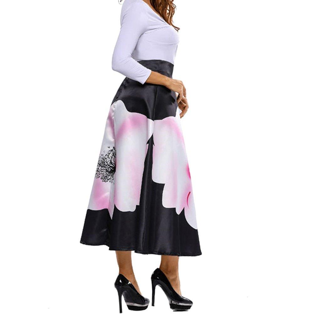 f1527ae3f Mujer Falda Larga Elegante Patrón de Floral Slim Fit Plisada Falda ...
