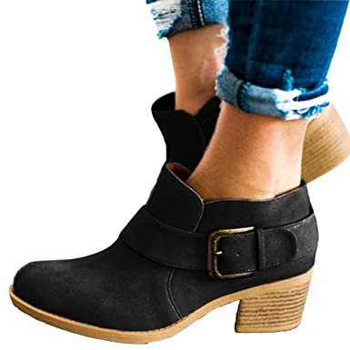 392cf1bd20976 Amazon.com: Women's Buckle Strap Ankle Booties Chunky Low Heel Cutout Faux  Suede Slip-on Western Shoes: Clothing