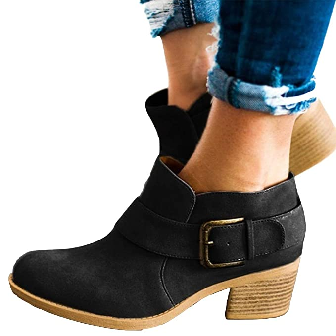 b94b76f4e50af Women's Buckle Strap Ankle Booties Chunky Low Heel Cutout Faux Suede  Slip-on Western Shoes