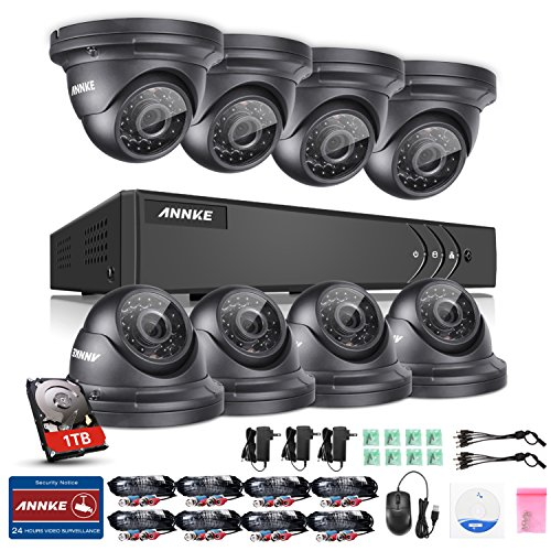 Cheap Annke 8CH 960P Security Camera System, 1080N Video Security DVR W/ 8x 960P 1.3MP Indoor/Outdoor Weatherproof CCTV Dome Camera, Smart Playback, Email Alert with Image, One 1TB HDD