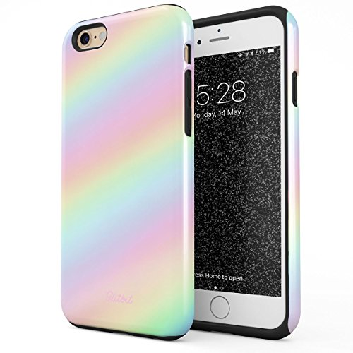 Glitbit Compatible with iPhone 6 iPhone 6s Case Pastel Rainbow Unicorn Colors Ombre Pattern Holographic Dye Pale Tumblr Kawaii Aesthetic Shockproof Dual Layer Hard Shell + Silicone Protective - Iphone Case 6 Ombre Color