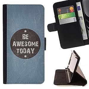 For HTC One M8 Case , Ser impresionante Hoy azul cita de motivación- la tarjeta de Crédito Slots PU Funda de cuero Monedero caso cubierta de piel