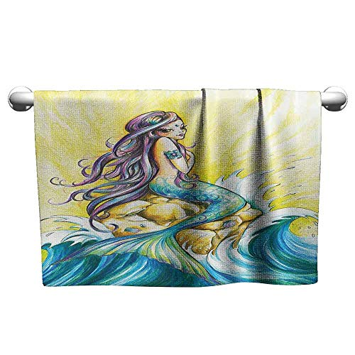 duommhome Mermaid Decor Soft Bath Towel Mermaid Sitting On Rock Sunny Day Design Colored Pencil Drawing Effect W8 x L23