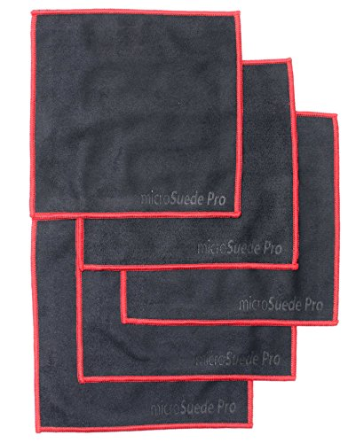 (5-pack) Premium Microfiber Cleaning Cloth For Glass, Camera Lenses, Phones, Tablets, Screens (Black) 6x6 by microSuede Pro