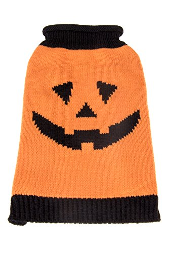 Orange and Black Halloween Smiling Pumpkin Holiday Pet Dog Sweater Jack-O-Lantern Costume | Perfect for Many Breeds of Dogs & Cats | Size Small | Measurements Body 25cm, Chest 32cm, Collar 24cm