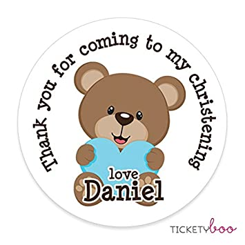 35 x 37mm personalised bearboy christening stickers labels