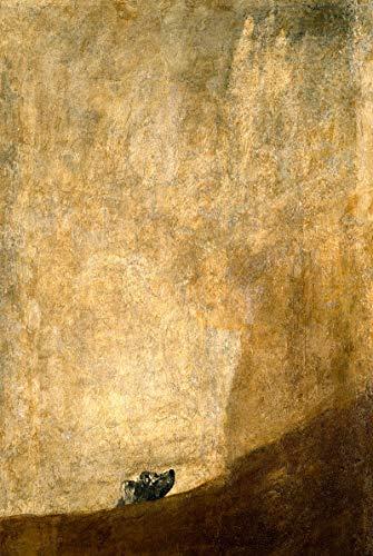 Cuadro En Lienzo Imprimir Lienzo ArteReproduccion de obra maestra Mural sin marco abstracto Goya Y Lucientes Francisco De Dog Half-Sumergido 1821-23 12X18InchLienzo Arte de la Pared Carteles